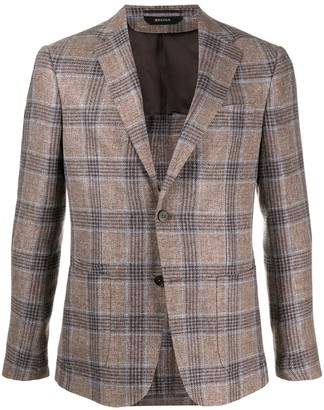 Ermenegildo Zegna Checked Singe Breasted Linen Blend Suit Jacket