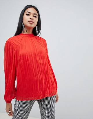 Asos Design DESIGN pleated long sleeve blouse with tie back detail-Red