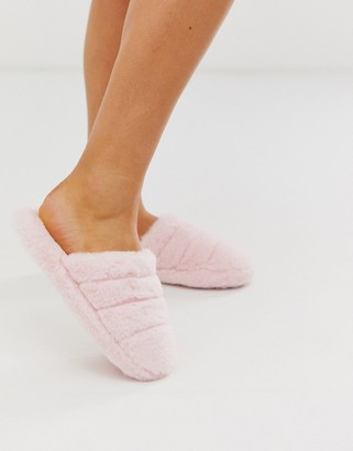 Asos Design DESIGN Zoe quilted slider slippers in pale pink