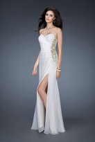 La Femme 18594 Side Beaded Strapless Chiffon Gown