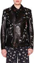 Etro Hand-Painted Leather Biker Jacket, Black/Multi