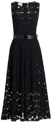 Akris Punto Embroidered Dot Belted Midi Dress