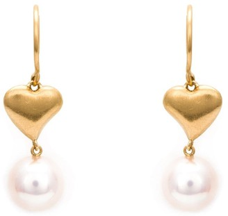 Marie Helene De Taillac 22kt Gold Heart And Pearl Earrings
