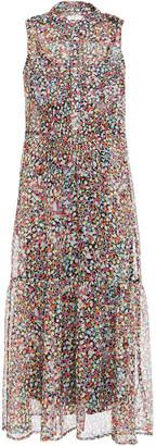 Equipment Allix Gathered Floral-print Silk-georgette Midi Dress