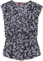 Joe Fresh Women's Silk Flutter Sleeve Top, Blue (Size L)