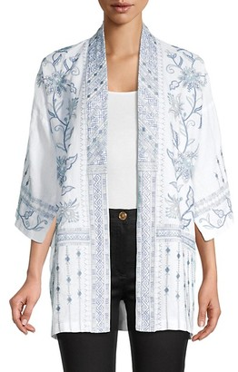 Johnny Was Maike Embroidery Linen Kimono Jacket