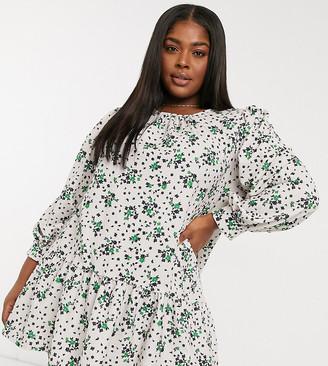 ASOS DESIGN Curve mini pep hem volume sleeve smock dress in cream base floral