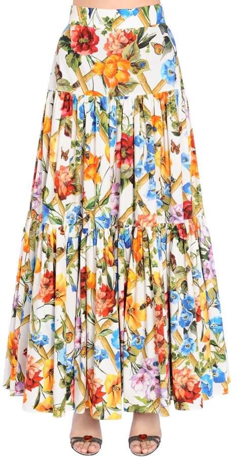 Dolce & Gabbana Bamboo Floral Print Cotton Poplin Skirt