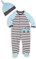 Offspring Babys Two-Piece Truck Footie and Hat Set