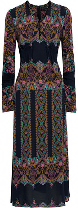 Etro Ruched Printed Crepe Midi Dress