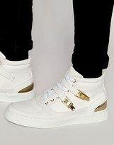 Asos Mid Top Sneakers in White With Gold Clasps