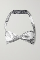 Thumbnail for your product : Norma Kamali Bill Ruched Printed Halterneck Bikini Top - White