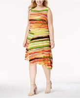 Ellen Tracy Plus Size Printed Asymmetrical Dress