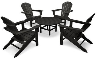 Polywood South Beach 5 Piece Multiple Chairs Seating Group Frame Color: Black