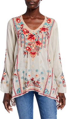Johnny Was Dulci V-Neck Asymmetric Tunic w/ Multi Media Embroidery