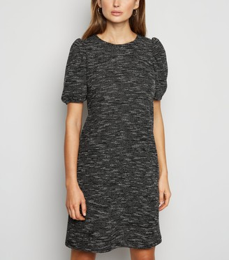 New Look Light Textured Knit Puff Sleeve Tunic Dress