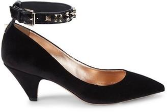 Valentino Rockstud Ankle-Strap Suede Pumps