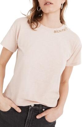 Madewell Bien Fait Embroidered Whisper Cotton Crewneck T-Shirt