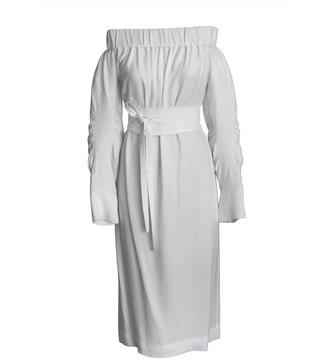 Onelady Off Shoulder Midi Dress Offwhite Vivi