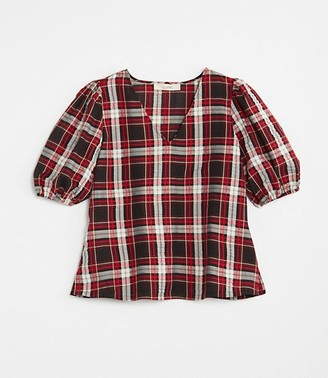 LOFT Petite Plaid Puff Sleeve Top
