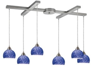 Elk Lighting Cira 6-Light Pendant in Satin Nickel and Pebbled Blue Glass