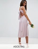 ASOS Tall ASOS TALL Wedding V Front Ruched Midi Dress