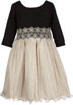 Bonnie Jean Big Girls 7-16 Glitter-Knit/Metallic Fit-And-Flare Dress