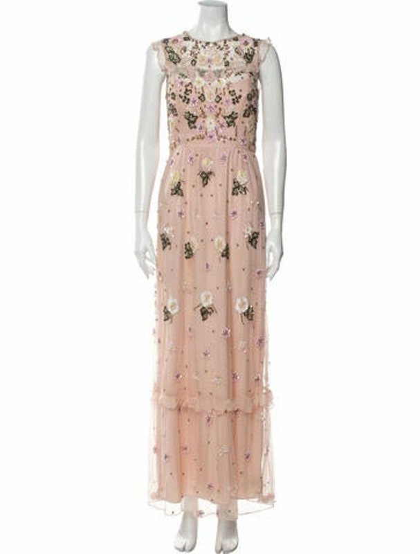 Needle & Thread Floral Print Long Dress Pink