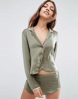 Asos Miley Satin Piped Long Sleeve Pajama Top & Short Set