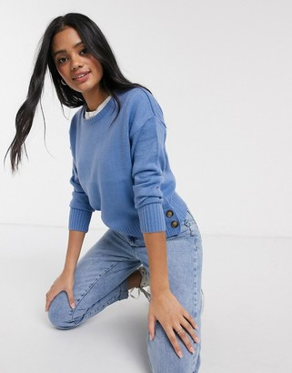 Brave Soul harlow crew neck jumper with button detail in blue