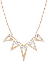 Swarovski Rose Gold-Tone Square Crystal and Triangle Collar Necklace