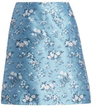 Erdem Miller Floral Silk Blend A-Line Skirt
