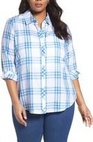 Foxcroft Plus Size Women's Roll Sleeve Herringbone Plaid Shirt