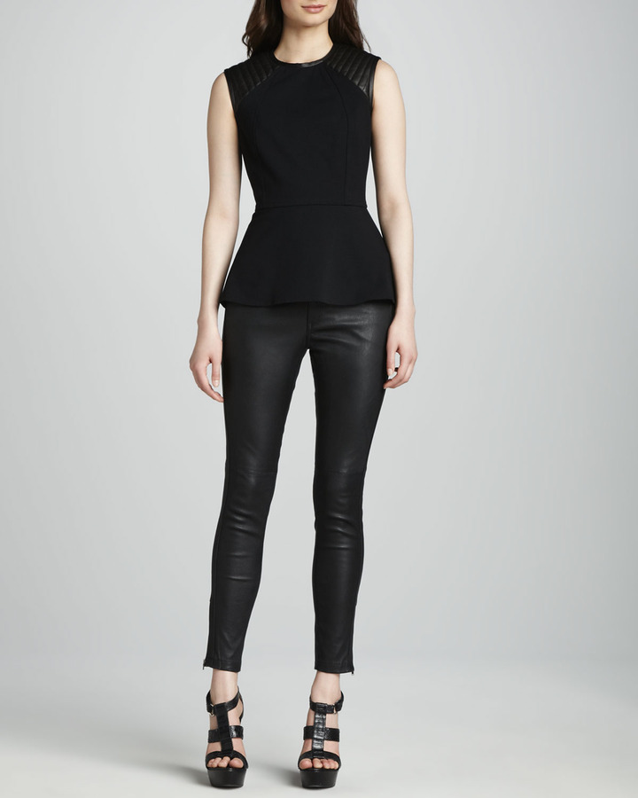 Yigal Azrouel Cut25 by Peplum Top with Quilted Leather Shoulders