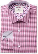 Con.Struct Men's Slim-Fit Stretch Magenta Preppy Twill Check Dress Shirt