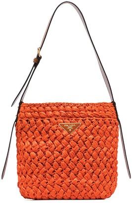 Prada Logo Plaque Woven Bucket Bag