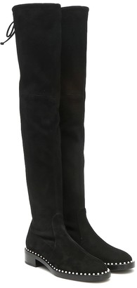 Stuart Weitzman Lowland embellished suede over-the-knee boots