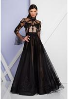 Terani Evening - 1722E4208 High Neck Long Sleeve Full Skirt Gown