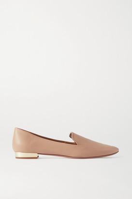 Aquazzura Greenwich 10 Leather Loafers - Neutral
