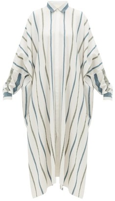 Marrakshi Life - Striped Cotton-blend Canvas Maxi Shirt Dress - Womens - Green Stripe