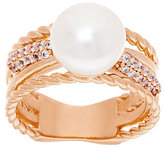 Honora As Is Cultured Pearl 10.0mm Button Crystal_Twist Bronze Ring