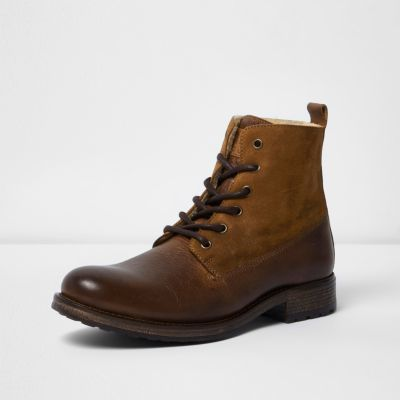 River Island Mens Brown leather panel borg lined boots