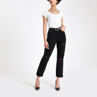 River Island Womens Black wash mom fit ripped jeans