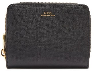 A.P.C. Emmanuelle Zip-around Saffiano-leather Wallet - Black