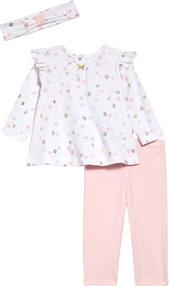 Little Me Shiny Daisy Top, Leggings & Headband Set