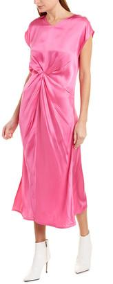 Helmut Lang Twist Front Silk-Trim Sheath Dress