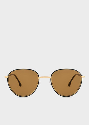 Paul Smith Black Ink And Gold 'Albion' Sunglasses