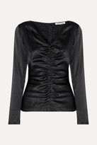 Elizabeth and James Adela Ruched Silk-blend Satin Blouse - Black