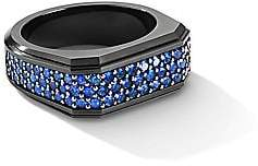 David Yurman Men's The Pavé Roman Signet Black Titanium-Plated Sterling Silver & Blue Sapphire Ring
