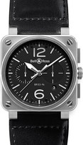 Bell & Ross BR0394-BL-SI/SCA Aviation steel and leather watch